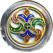 Button--Late 19th C. Pearl with Open Work Enamel Fleur de Lis Overlay