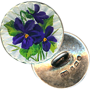 Button--Exquisite Guilloche Hand Painted Enamel Violets on Sterling Silver--Medium