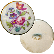 Button--Large Late Georgian Soft Paste Porcelain Floral on Molded Lattice
