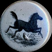 Button--Mid-19th C. Transfer Decorated Monochrome Porcelain Prancing Horse--Medium