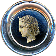 Button--Early 19th C. Lacquered Paper Lithograph in Bright Mirror Steel Thread Back--Classical Greek Head