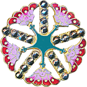 Button--Large Late 19th C. Open Work Brass Enamel Nile Lotus & Star Design with Cut Steels