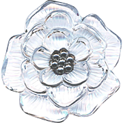 Button--Uncommon Extra Large Clear Glass Peony with Rosette Shank
