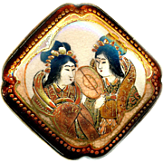 Button--Large Square Late 19th C. Satsuma Pottery 2 Geisha in Metal