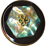 Button--Deluxe Large Late 19th C. Precision Inlay Pearl in Black Glass in Brass