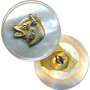 Button--Sporting Medium Late 19th C. Brass Fox Head On White Pearl