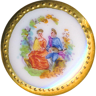Button--Small Late 19th or Early 20th C. Hand Painted Porcelain Pastoral Couple