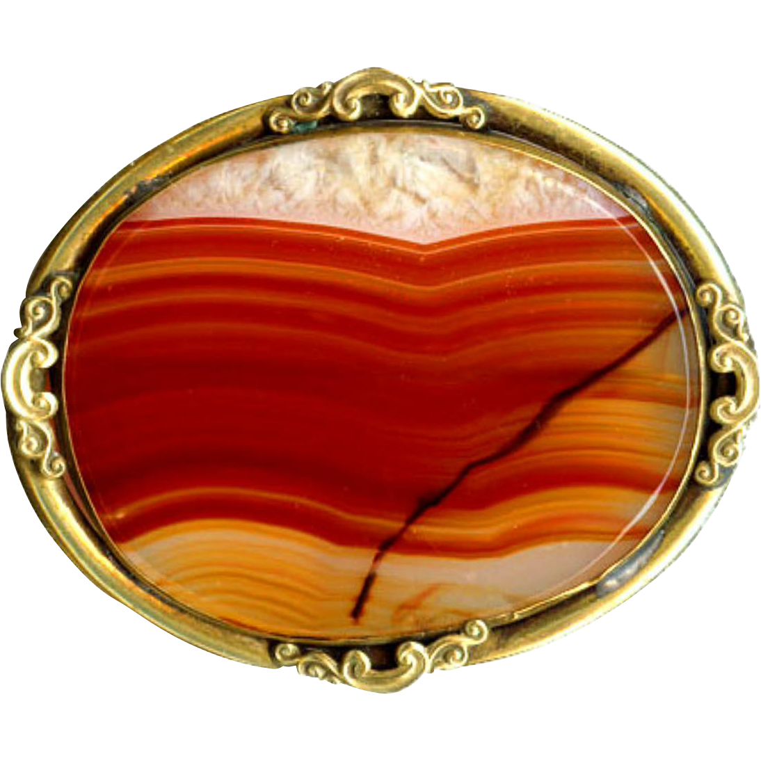 Brooch--Very Large Mid-19th C. Translucent Banded Scottish Agate in Gold-plated Brass with Rococo Scrolls