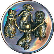 Button--Scarce Late 19th C. Brass Kate Greenaway Kids on Pearl