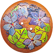 Button--Large Vintage Hand Painted Pyrographic Violets on Wood in Original Paint