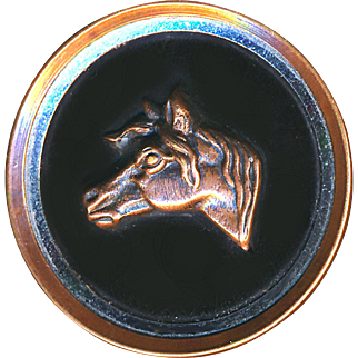 Button--Large Late 19th C. Copper & Bright White Metal Inner Border Horse Head