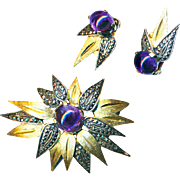 Brooch & Earrings--Vintage Amethyst and Gold Vermeil on Sterling with Marcasites