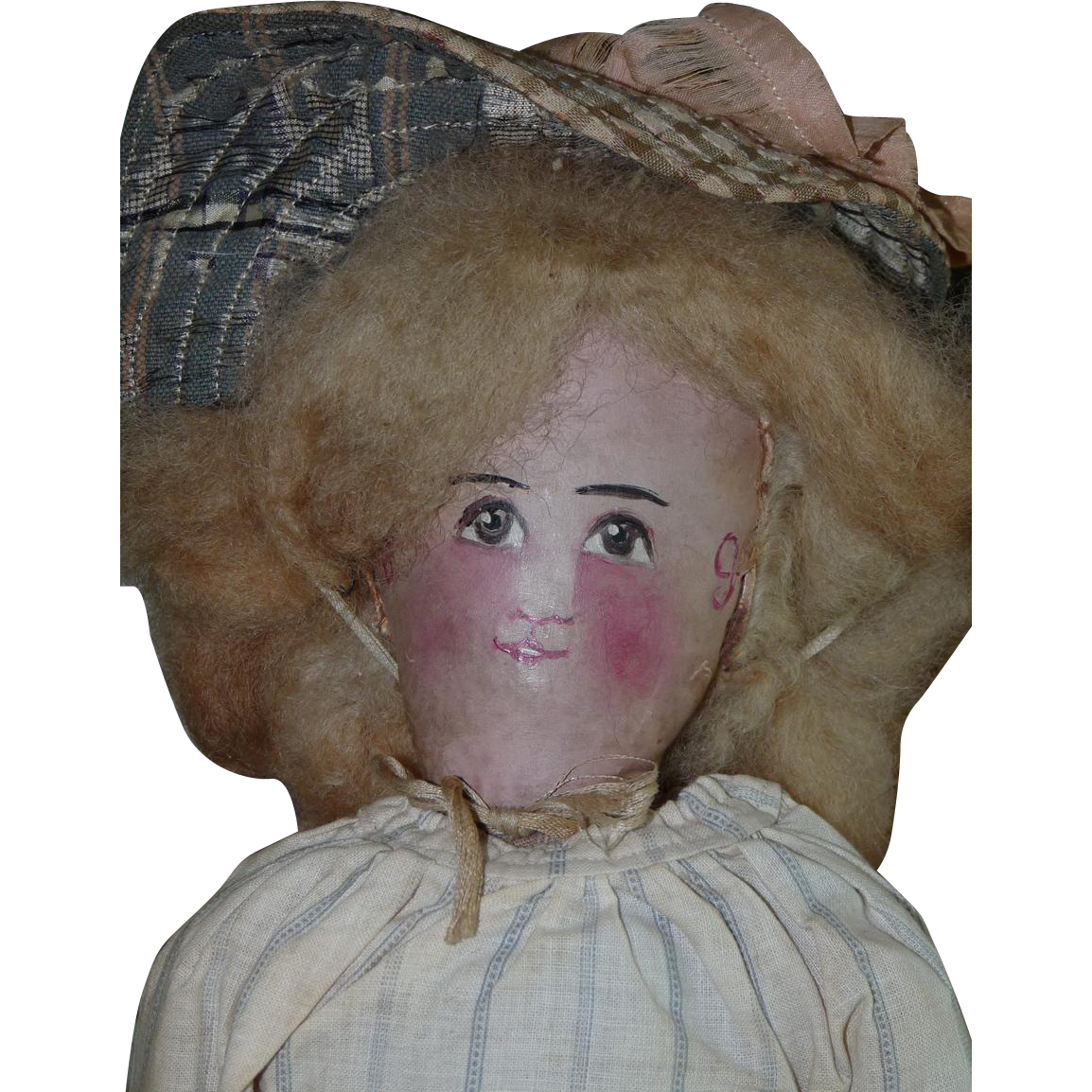 Sale! Antique All Original Cloth Oil Painted Face Doll