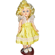 "Virga Lollipop Doll, 8"" Hard Plastic Walker, Yellow Hair and Dress"