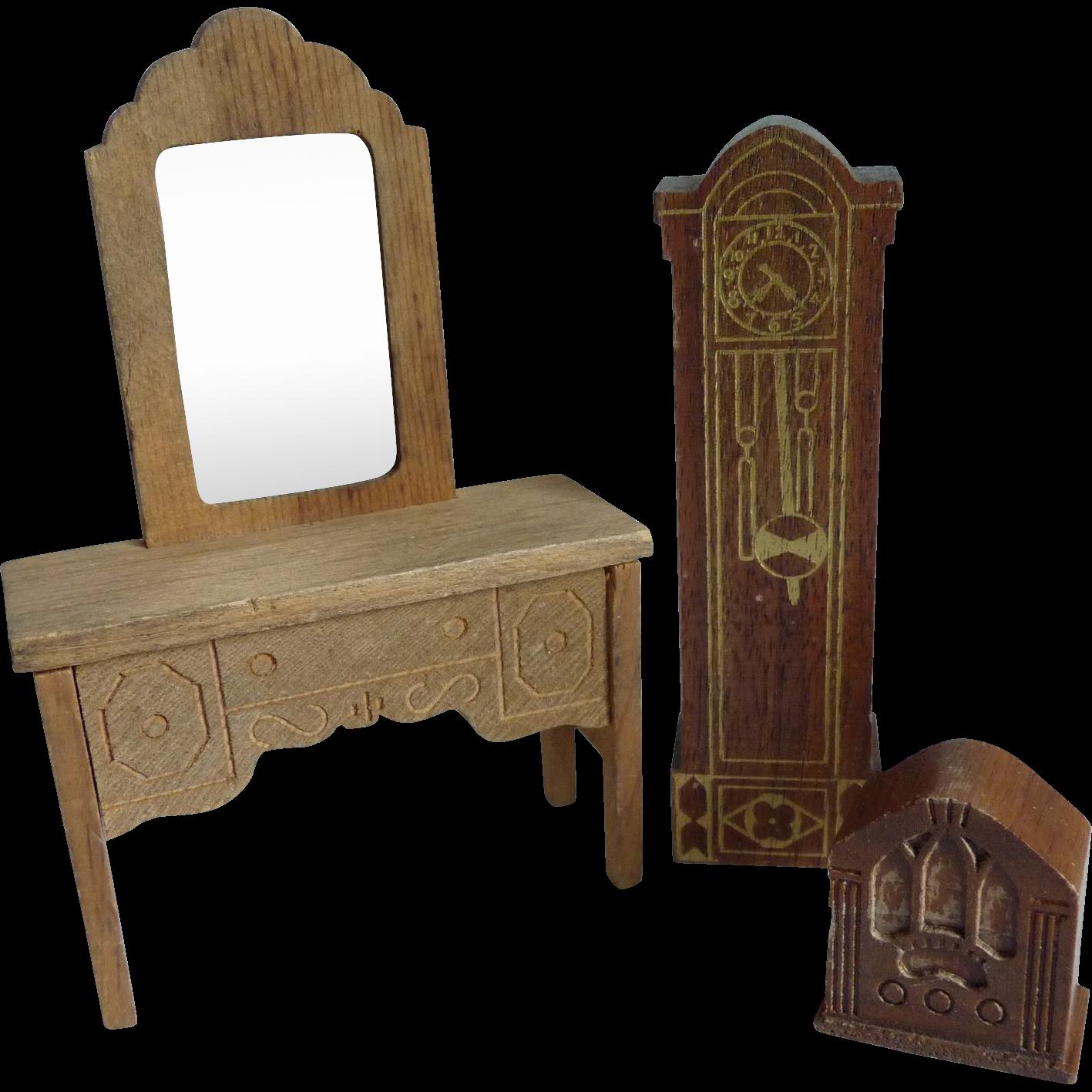 3 Pieces Vintage Dollhouse Furniture