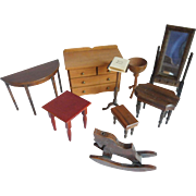 10 Pieces Vintage Dollhouse Furniture and Accessories