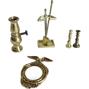 6 Piece Brass Dollhouse Accessories