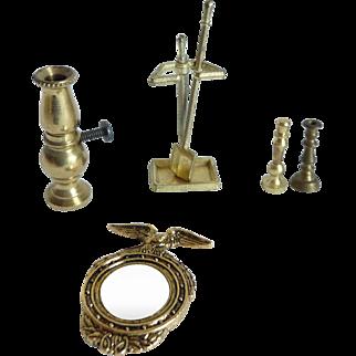 6 Piece Brass Dollhouse Accessories