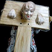 German Porcelain Figure, Town Clown in Stockade