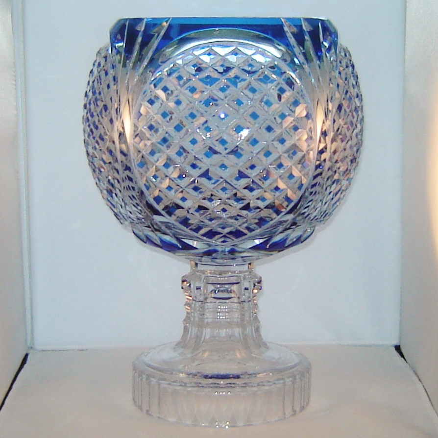Val st lambert cobalt blue to clear crystal centerpiece