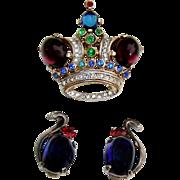 Vintage Trifari Sterling Moonstone Rhinestone Crown Brooch Earrings