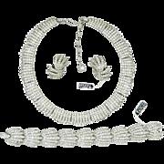 Vintage Trifari Fireworks Rhinestone Necklace Bracelet Earrings Book Ad