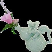 Vintage Bombay Co Celadon Monkey Vase