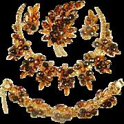 Juliana Tiger Stripe Necklace Bracelet Brooch Earrings Tortoise D&E Book Set