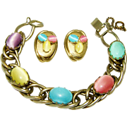 Vintage Kafin Bracelet Earring Set Fx Moonstone Cabochons