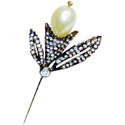 Vintage Chanel Novelty Stick Pin Faux Pearl Diamante Rhinestone