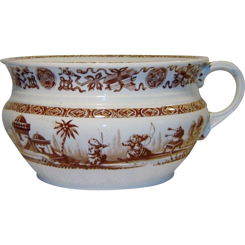 Antique Ridgway Yeddo Chamber Pot Brown Transferware Rare Aesthetic Pattern
