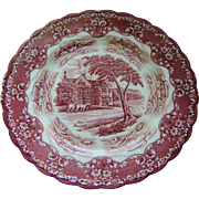 Grindley Pink Red Transferware Plate The Peacock