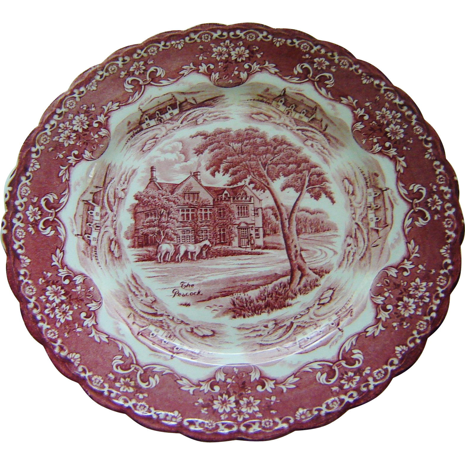 Grindley Pink Red Transferware Plate The Peacock From
