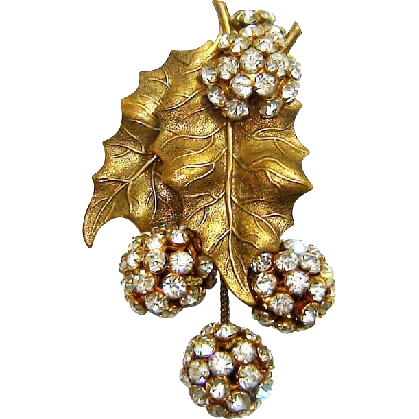 Early Haskell Dress Clip Rose Montee Rhinestone Balls Leaves