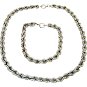 Vintage Sterling Necklace Bracelet Silver Rope Chains