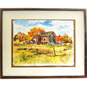 Musselman Watercolor Farm Landscape