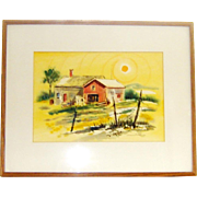 Musselman California School Style Watercolor Farm Landscape