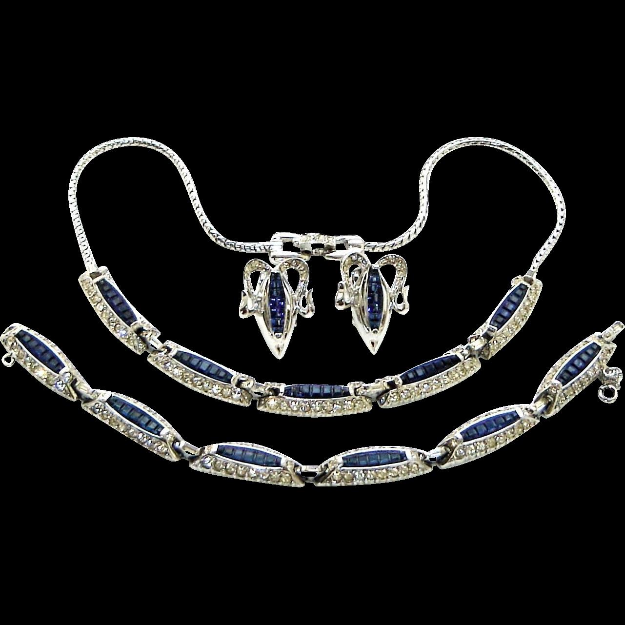 Vintage Reja Necklace Bracelet Earrings Invisibly Set Blue Rhinestones