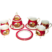 Vintage Coffee Tea Set Hunt Scene