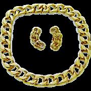 Vintage Ciner Necklace 18K Gold Plated Links Earrings