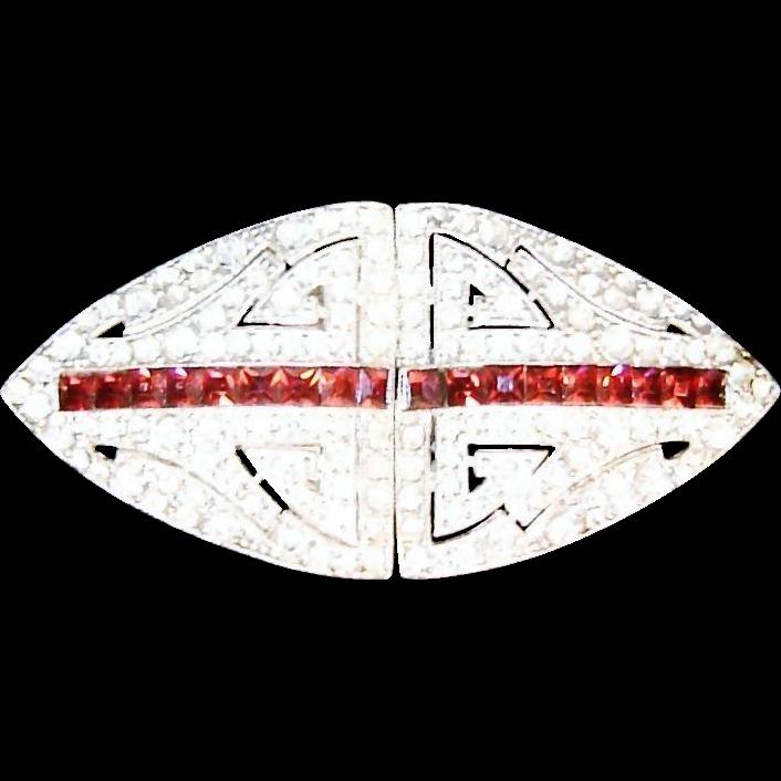 Vintage Coro Duette Ruby Red Rhinestone Diamante Dress Clips