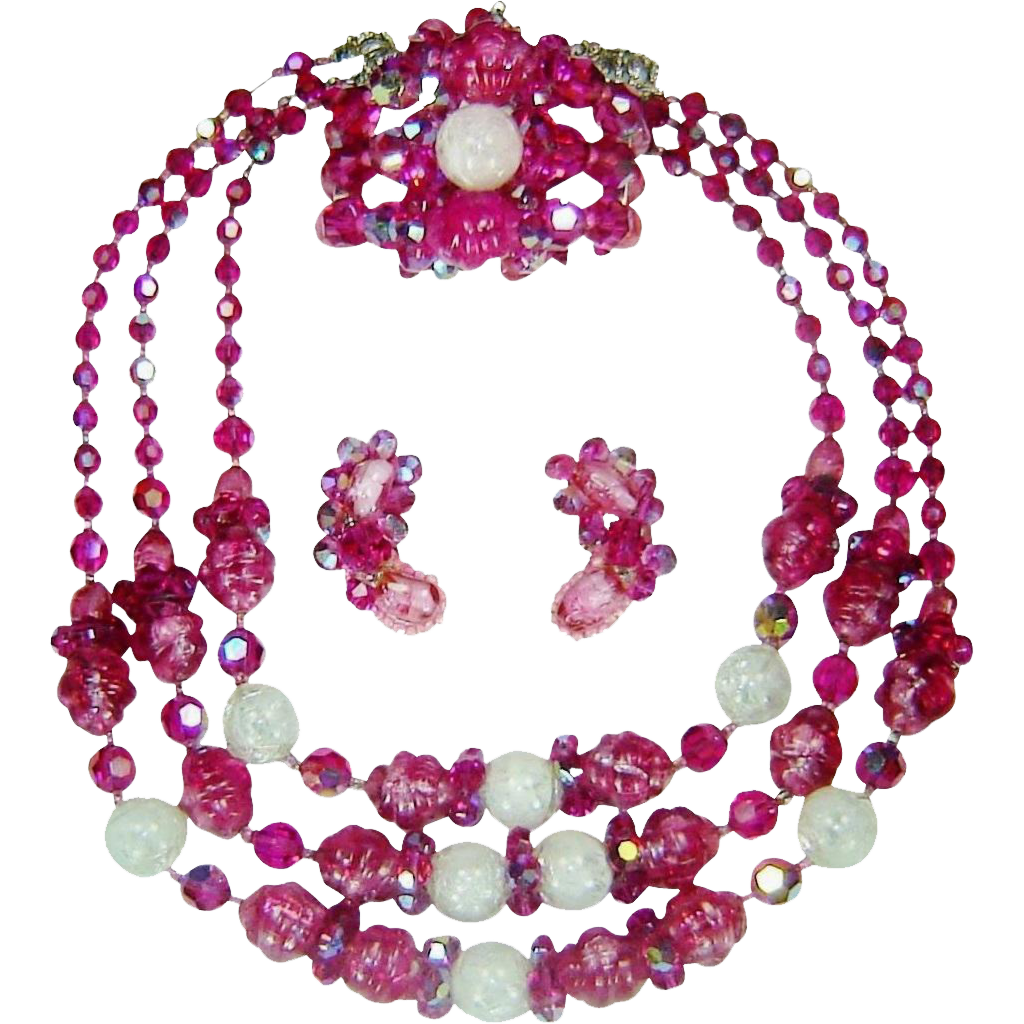 Vintage Hobe Pink Necklace Bracelet Earrings Bead Crystal Set