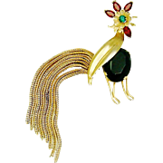 Vintage Napier Rooster Brooch Rhinestones Chains Book Piece