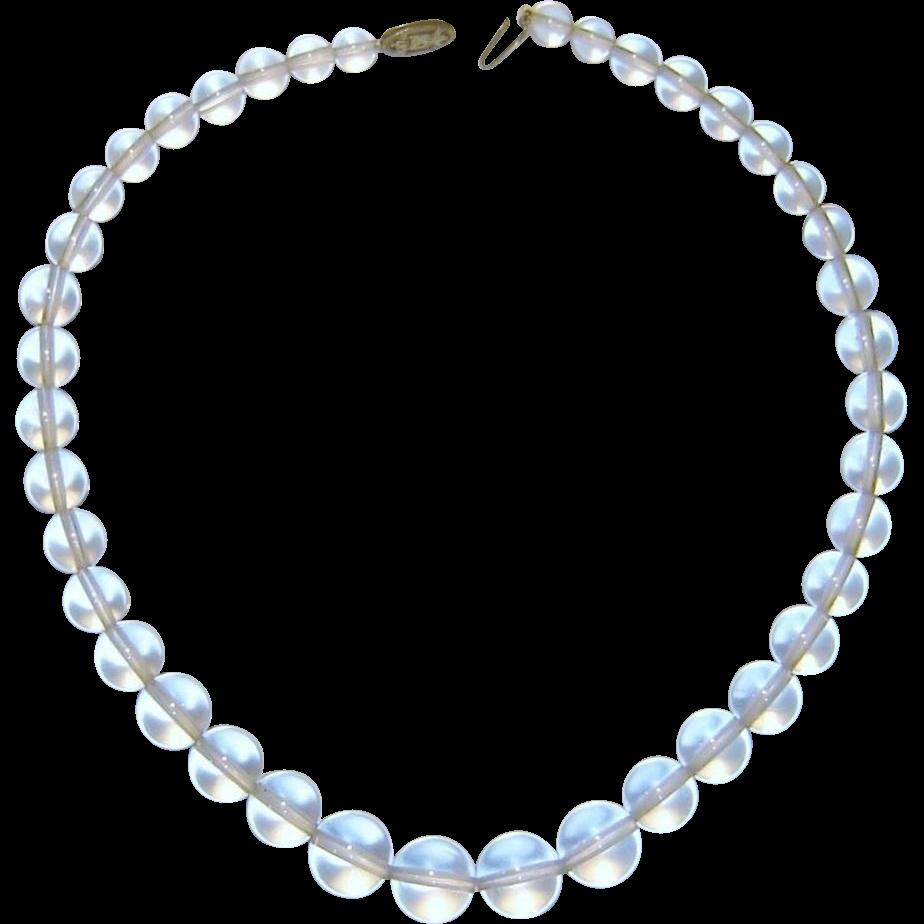 Vintage Art Deco Necklace Rock Crystal Sterling