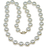 Vintage Chunky Glass Pearl Necklace Rhinestone Clasp