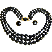 Vintage Black Crystal Necklace Triple Strand Earrings