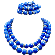 Vintage Blue Marbled Lucite 2 Necklace Bracelet Set Rhinestone Rondelle