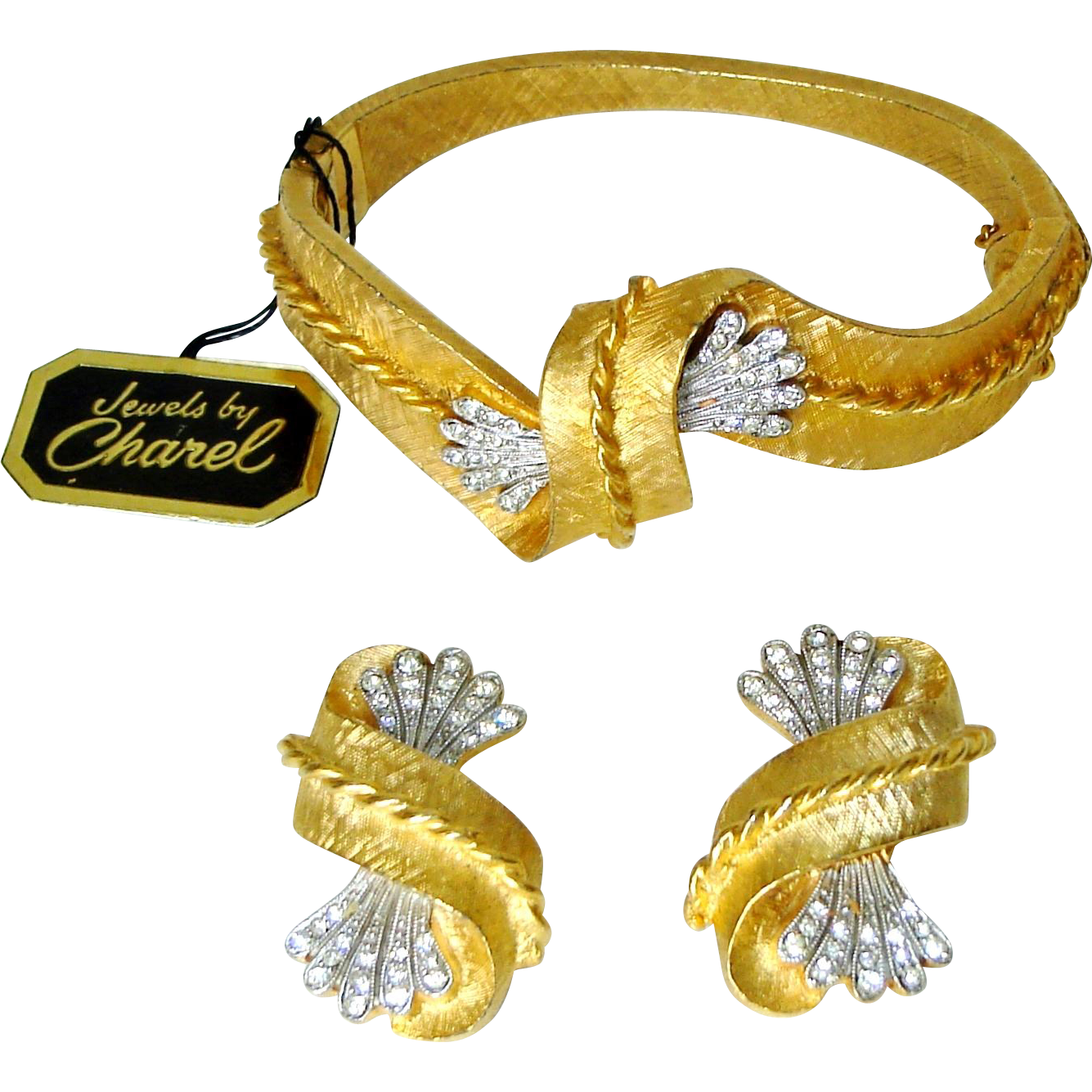 Vintage Charel Clamper Bracelet Earrings Diamante Rhinestones