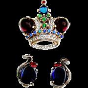Vintage Trifari Sterling Crown Brooch Earrings Moonstone Rhinestone