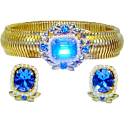 Vintage Coro Expansion Bracelet Earrings Set Sapphire Rhinestones Faux Pearls